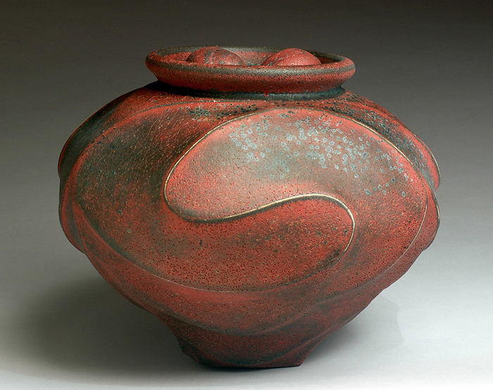 Red/Black Vessel with Double Shell by Jim Connell - Click Image to Close