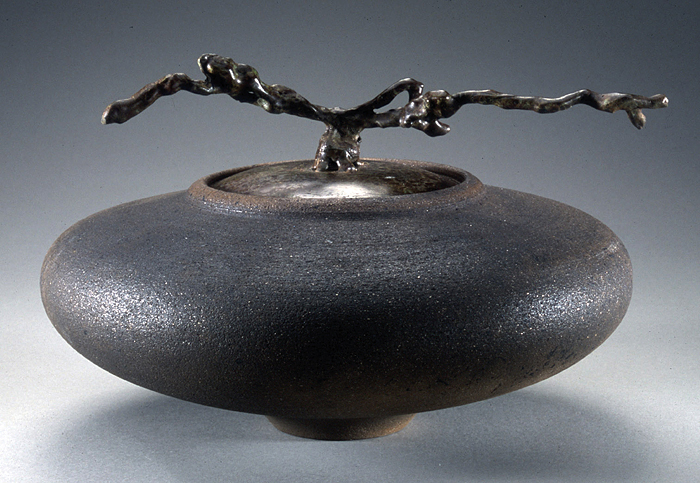 Zen Spaceship Vessel with Cast Bronze Grapevine Lid - Click Image to Close